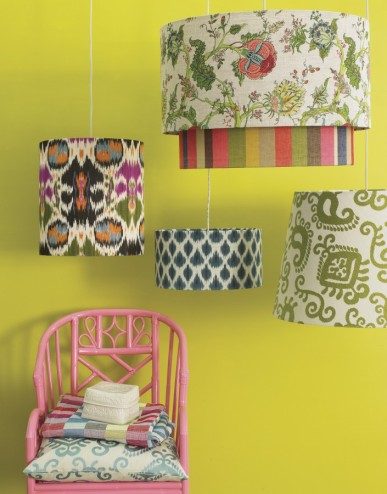 Temple Door, Flowers on Water, Spice Stripe, Bukhara available at http://www.nochintz.com/lampshades/