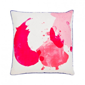 Bonnie and Neil Abstract Splash in pink, $145, 50cm x 50cm is made from 100% Linen and comes with a contrasting blue piped edged.