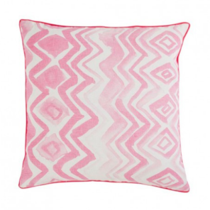 Bonny and Neil Chevron Cushion in pink, $145, 50cm x 50cm and made from 100% Linen, has a bright pink piped edge.