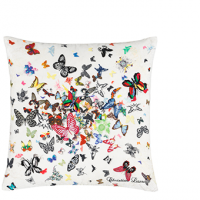 Butterfly Parade Safran Cushion Striking Embroidered Cushion in white, $XX, 50 x 50cm, available in-store at No Chintz.