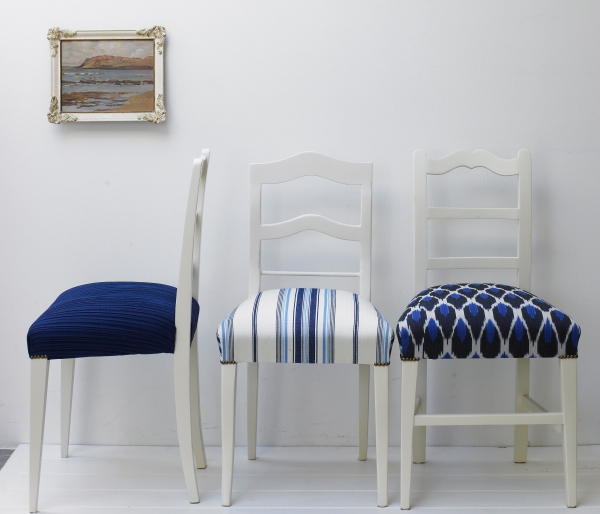 Dining Room Chairs in textured, prints and ikat fabrics.