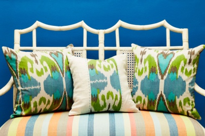 Cushions in Cashew Nut Love have a vibrant tribal appeal.