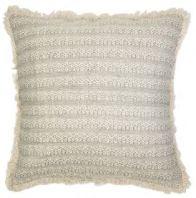 Jacquard Fringed Large Cushion in Silver.