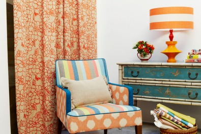 Ikat Spot, Spice Stripe and Peony Garden http://www.nochintz.com/fabric/available at