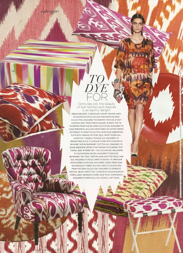 No Chintz Ikat Cushion in Scarlet and Purple, $214, as featured in Australian Vogue magazine.