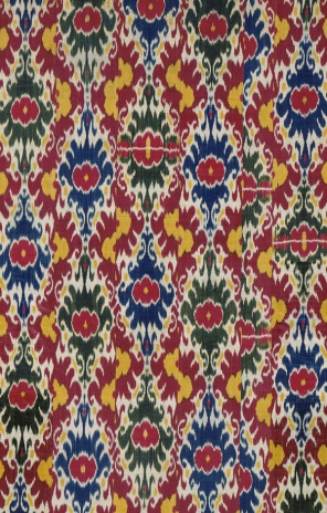 Ikat made with silk and cotton, mid-19th century, Uzbekistan. Smithsonian collections.