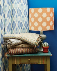 Curtain made using Bindi in Surf, Lampshade in Ikat Spot in Cumquat.