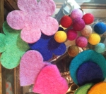 No Chintz Felt balls, Flowers and Hearts
