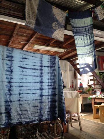 Prints Charming Shibori hanging to dry.